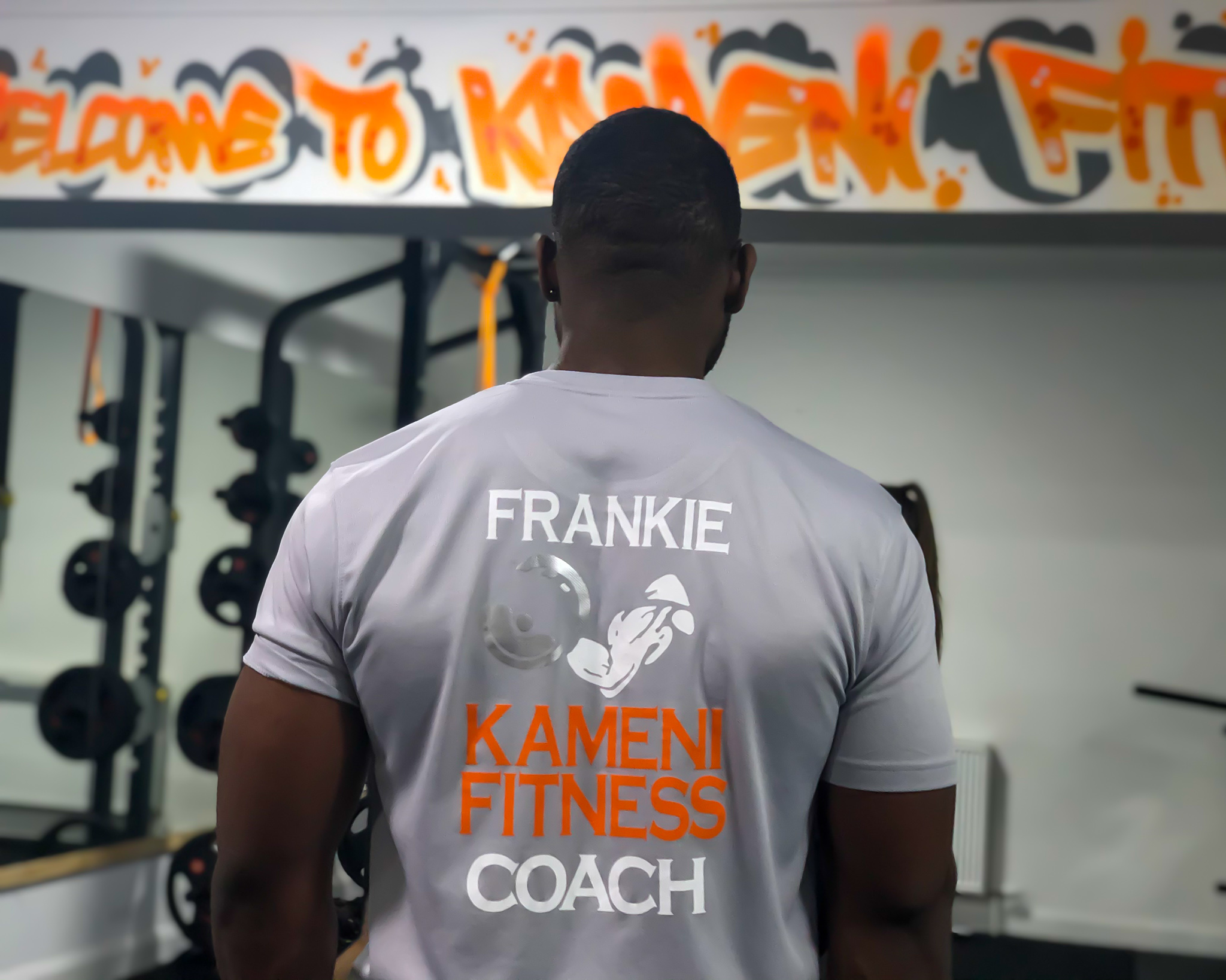 Frank Kameni fitness instructor in his gym